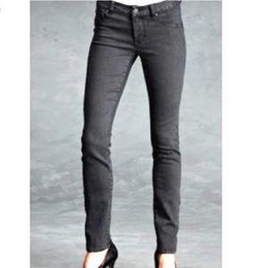 CAbi black rain stone wash skinny straight jeans